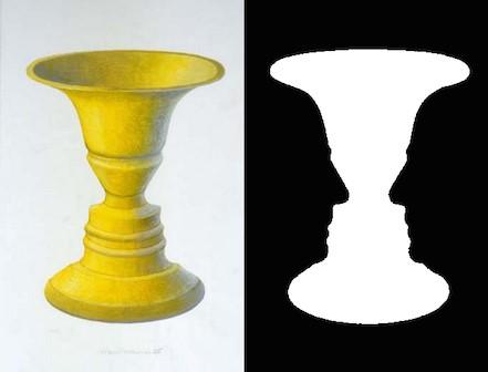 Foto: Edgar J. Rubin/Vexierbild Vase und Gesichter/upload.wikimedia.org/wikipedia/commons/b/b5/Rubin2.jpg